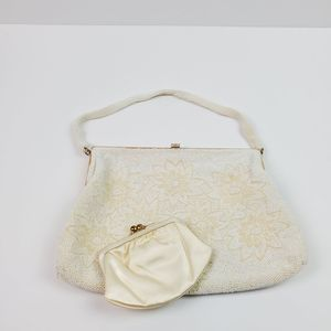 Vintage Beaded Floral Lined Snap Clutch Purse
